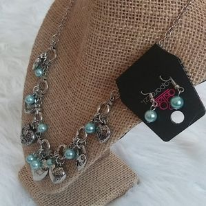 Heart Necklace with Matching Earrings Silver Toned